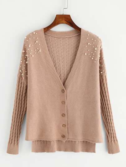 Faux Pearl Beading Slit Side High Low Cable Cardigan
