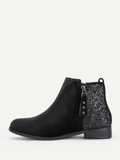 Sequin Flat Velvet Ankle Boots