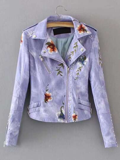 Studded Detail Embroidery PU Biker Jacket