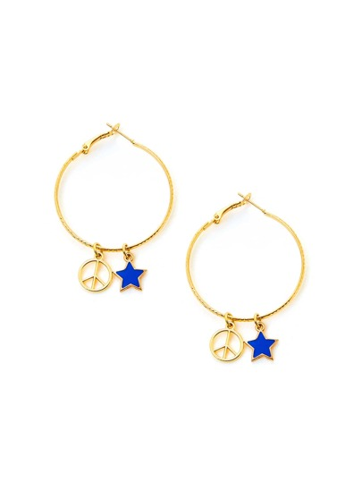 Star Detail Open Hoop Earrings