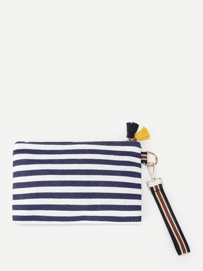 Tassel Detail Striped Print Clutch Bag