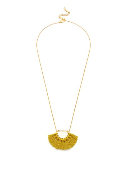 Fan Shaped Tassel Pendant Chain Necklace
