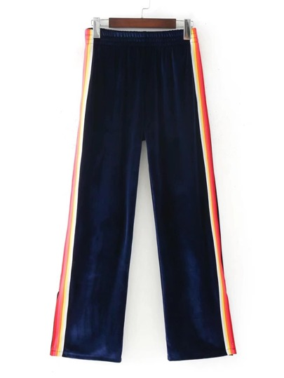 Colorblock Tape Velvet Pants