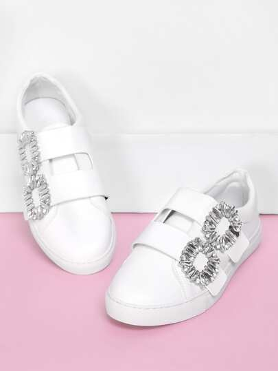 Double Rhinestone Buckle Design PU Sneakers