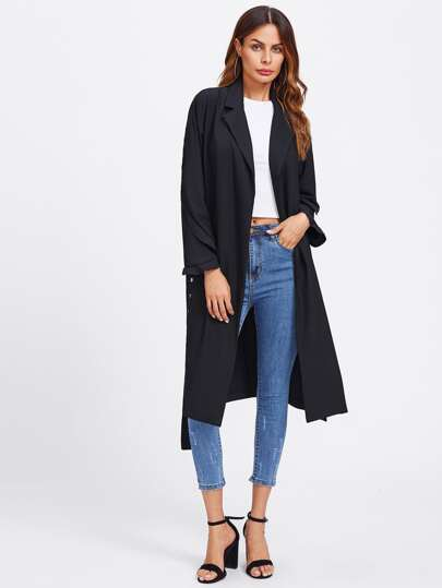 Split Back Trench Coat With Eyelet Belt