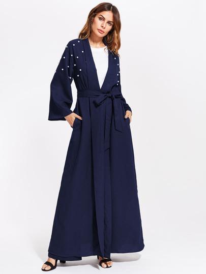 Pearl Embellished Self Belt Abaya