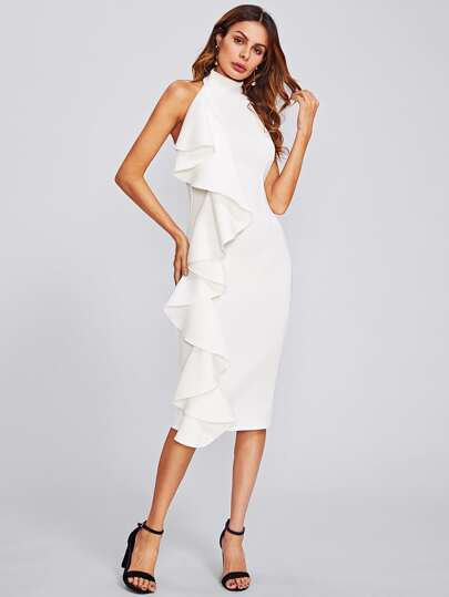 Open Back Exaggerated Frill Halter Dress