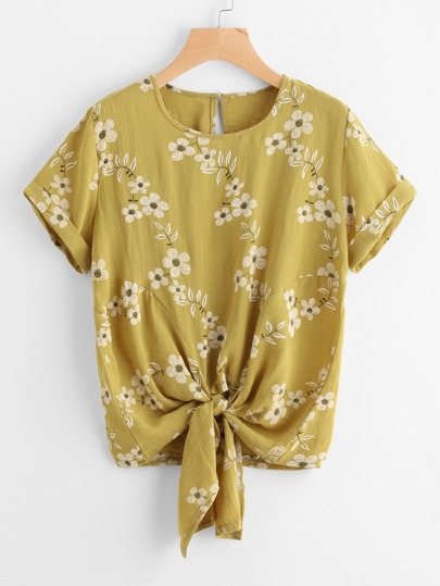 Floral Print Knot Front Cuffed Tee
