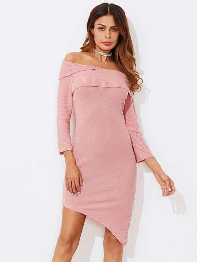 Off Shoulder Foldover Asymmetric Hem Bodycon Dress