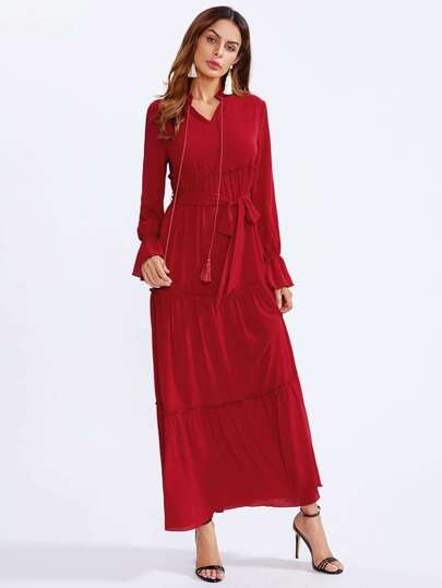 Tassel Tie Bell Cuff Tired Hijab Evening Dress