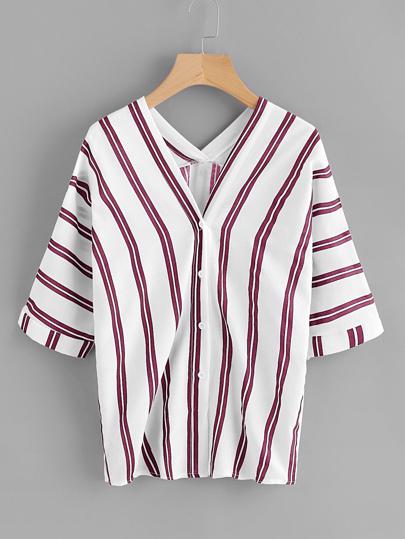 Blusa escote V de rayas