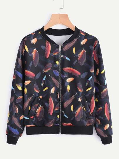 Random Feather Print Ribbed Trim jacket