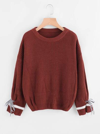 Tie Detail Drop Shoulder Chunky Knit Sweater