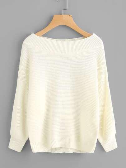 Boat Shoulder Knit Sweater