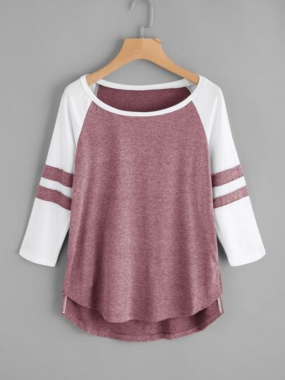 Varsity-Striped High Low Raglan Tee