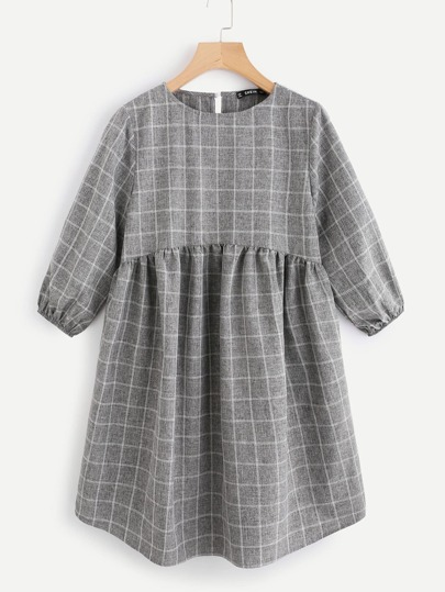 Lantern Sleeve Button Keyhole Back Smock Gingham Dress