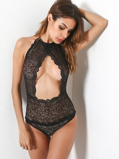 Open Front Backless Halter Teddy