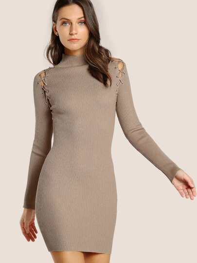Lace Up Turtleneck Bodycon Dress TAUPE