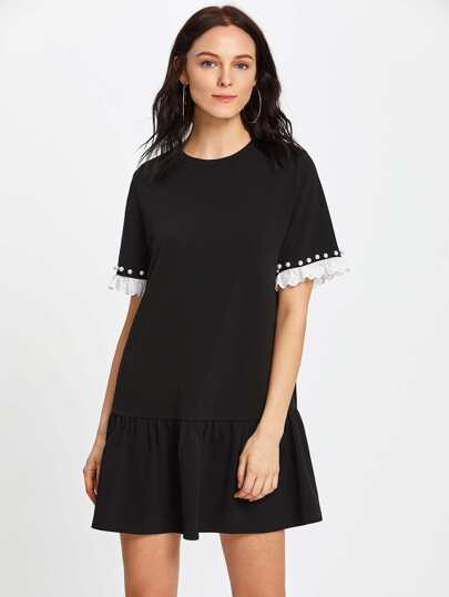Pearl Beading Eyelet Embroidered Frill Cuff Dress