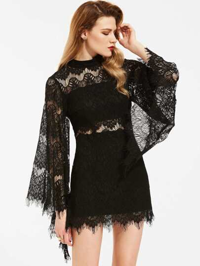 Fluted Sleeve Eyelash Lace Dress