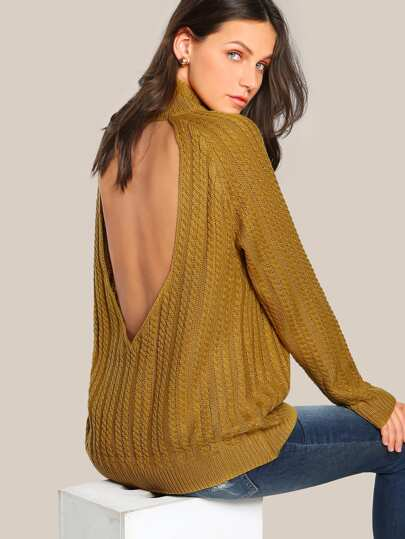 Open Back Turtleneck Ribbed Sweater CAMEL