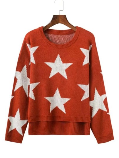 Star Pattern High Low Jumper Sweater