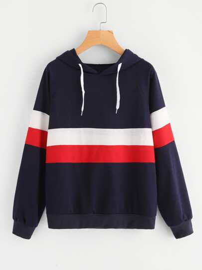 Color Block Striped Hoodie