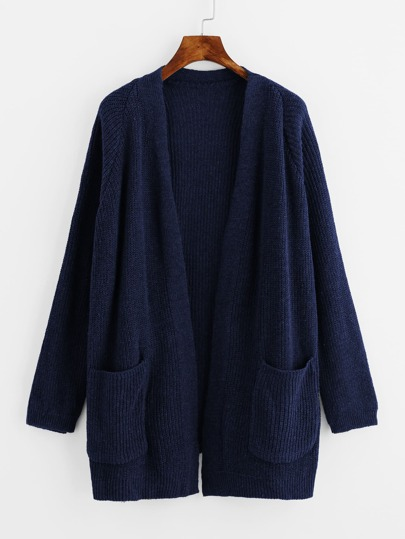 Dual Pocket Raglan Sleeve Sweater Coat