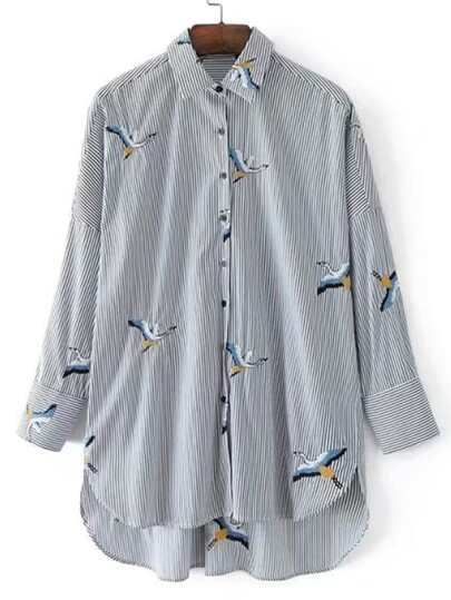 Crane Embroidery Striped Dolphin Hem Blouse