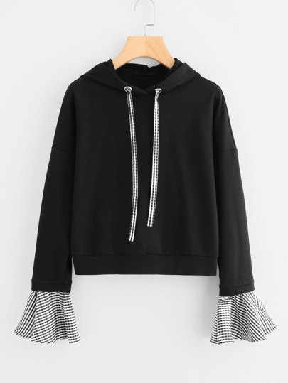 Gingham Drawstring And Bell Cuff Hoodie
