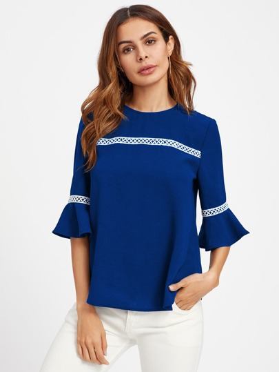 Crochet Detail Fluted Sleeve Blouse