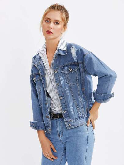 Drop Shoulder Destructed Denim Jacket