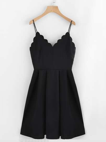 Open Back Scallop Edge Boxed Pleated Cami Dress