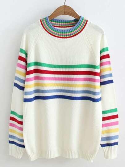 Raglan Sleeve Striped Jumper Sweater