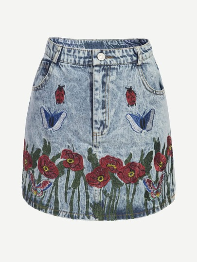 Floral Butterfly Embroidered Denim Skirt