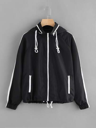 Drawstring Hem Detachable Hood Windbreaker Jacket