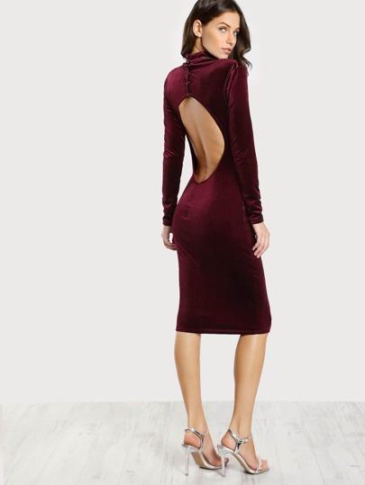 Turtleneck Velvet Dress BURGUNDY
