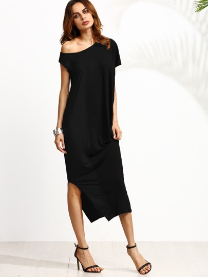 Oblique Shoulder Split Dress
