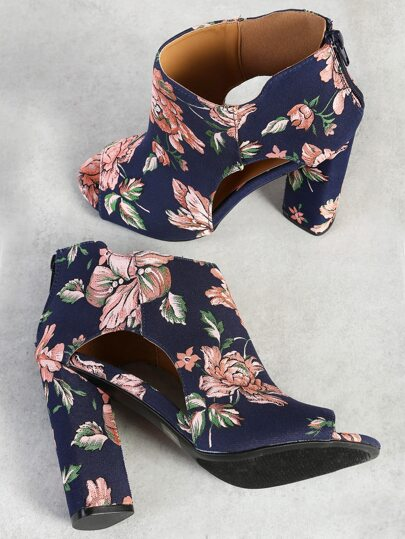 Floral Print Cut Out Peep Toe Heels NAVY PINK