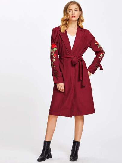Embroidered Rose Patch Belted Cuff And Waist Coat