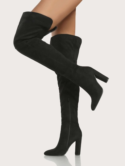 Point Toe Oval Heel Thigh High Boots BLACK