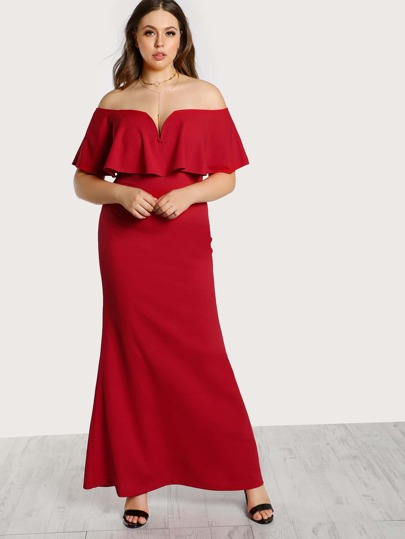Off Shoulder Ruffle Flounce Dress RED