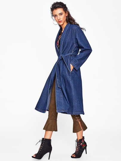 Tie Waist Denim Coat