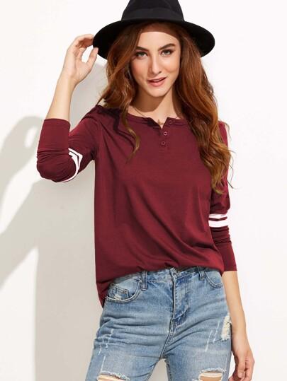 Button Neck Striped T-shirt