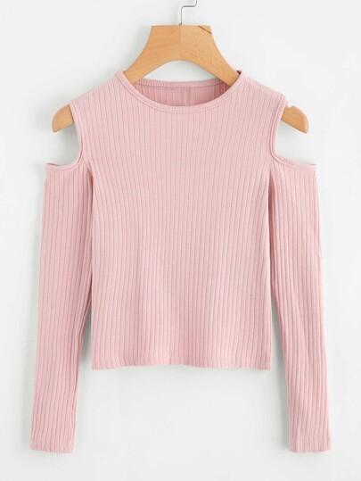 Maglione in maglia a coste con spalle scoperte