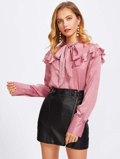 Frill Detail Tied Neck Wide Cuff Blouse