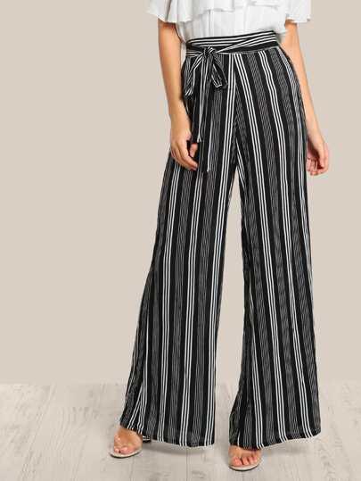 Striped Lightweight Pants BLACK WHITE