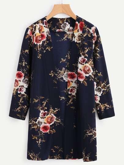 Random Florals Open Front Coat