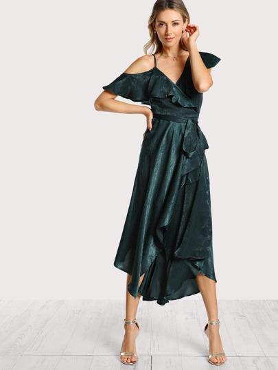 Satin Wrap Asymmetric Sleeve Maxi Dress TEAL