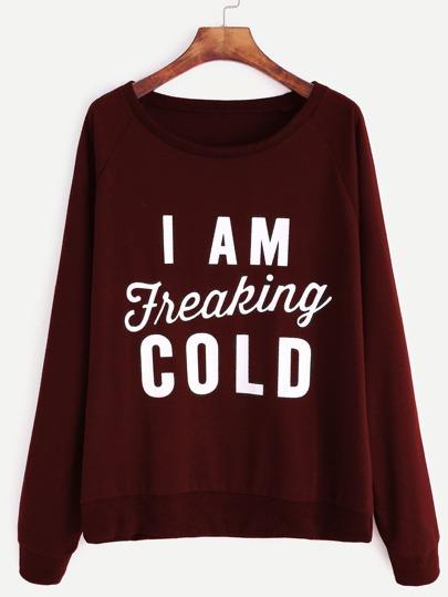 Sweat-shirt imprimé slogan avec manche raglan